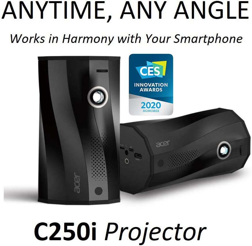 Acer C250i Anytime, Any Angle Full HD Projector with Auto Portrait Projection, Any Angle Projection, Built-in Wireless Projection, Built-in Battery & Bluetooth Speaker (MR.JRZ11.00B)