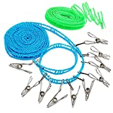 Smilenut 2 Pack 3m & 5m Windproof Clotheslines 10 Pcs Stainless Steel Wire Clip,Outdoor indoor home travel camping