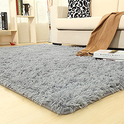 PAGISOFE Soft Kids Room Nursery Rug Bedroom Living Room Carpet 4' x 5.3',Gray (College Rugs)