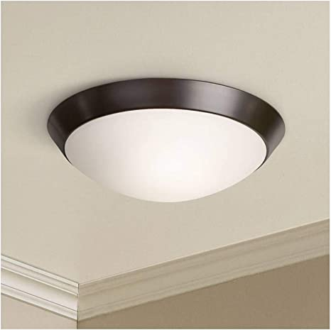 Davis Contemporary Modern Small Ceiling Light Flush Mount Fixture Oil Rubbed Bronze 13 Wide Frosted Glass Dome For House Bedroom Hallway Living Room Bathroom Dining Kitchen 360 Lighting Flush Mount