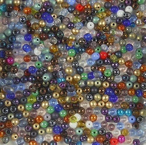 400 Czech Druk Round Small 4mm MIX Glass Beads ()