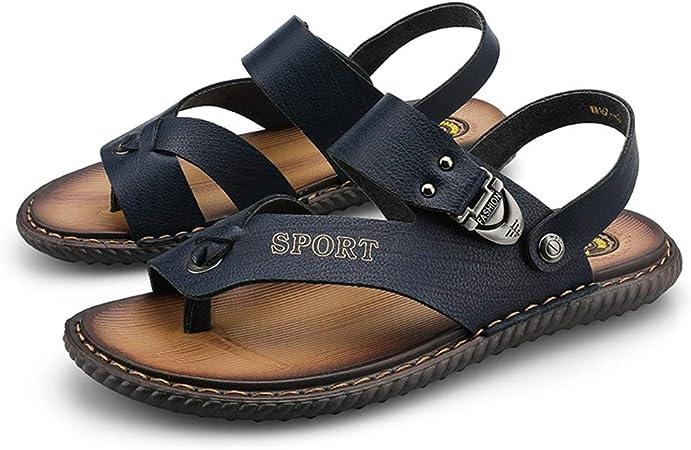 Apragaz Hommes Sandales De Mode Tongs Thong en Microfibre en Cuir Antidérapant Décor avec Boucle Pantoufles Double Usage (Color : Bleu, Taille : 43