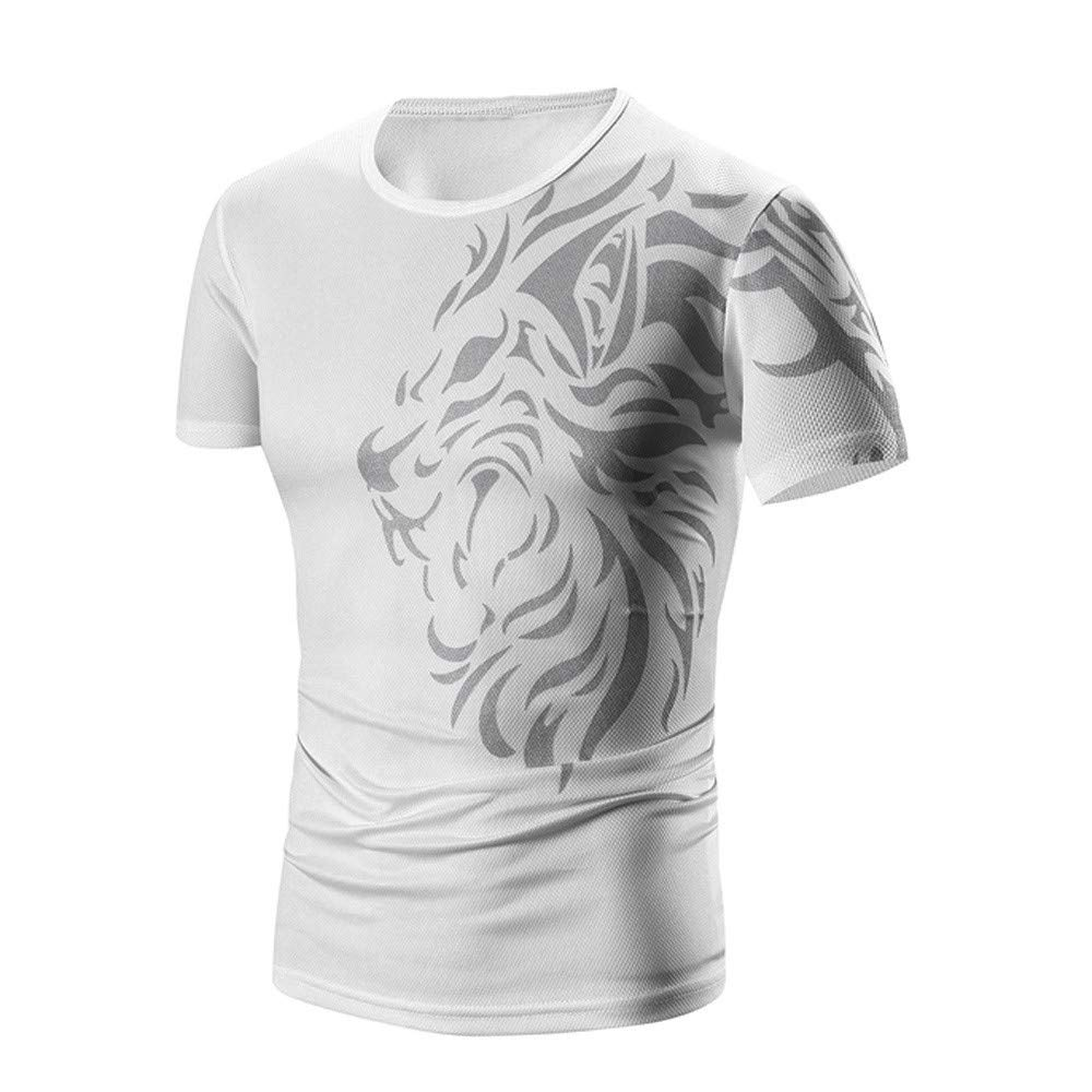PASATO Men Summer Round Neck Tee Printing Men's Short-Sleeved T-Shirt Top Blouse(White-1,M=US:S)