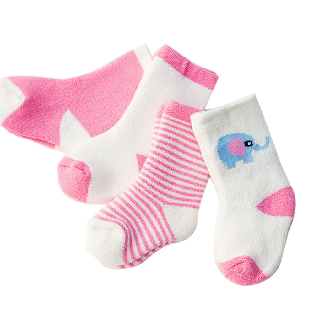 FQIAO Baby Socks Cute Cotton Thick Warm Soft Unisex 3 Pack for S Size 0-6 Month