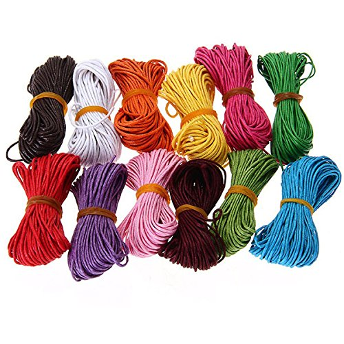12 Random Colors Tinksky 10M 1mm Waxed Cotton Cords Strings Ropes for DIY Necklace Bracelet Craft Making