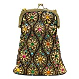 David Jeffery Handbag - Multicolor Beaded With Chain Strap 6''L x 8''H.