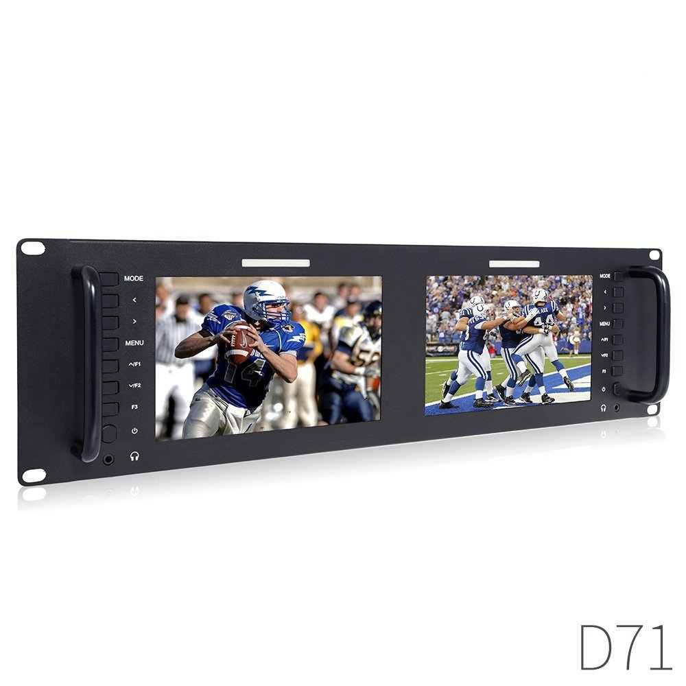 Feelworld D71 監視モニター Dual7インチ 3RU IPS 解像度1280×800 400cd/m2 LCDラックマウントモニター 3G-SDI / HDMI / AV入出力 B073JB9RSJ