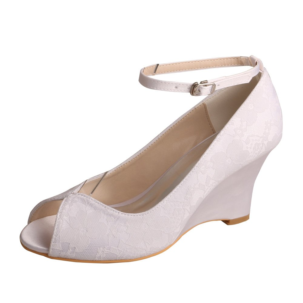 Wedopus MW629 Women's Peep Toe Pumps High Heel Lace Wedding Bridal Shoes Wedges with Ankle Strap Size 6 White