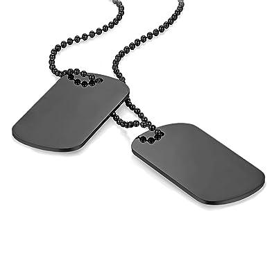 92bbeb75517 Lot de 2 pendentifs Cupimatch - Collier de style militaire - Pour homme -  Plaque d