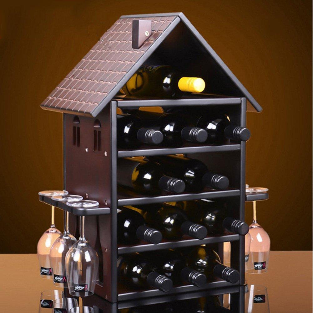 TY&WJ Solid wood Wine bottle holder Creative [redwood] European style Wine shelf [household] [restaurant] Bar pub Wine display Senior Wine cabinet-B