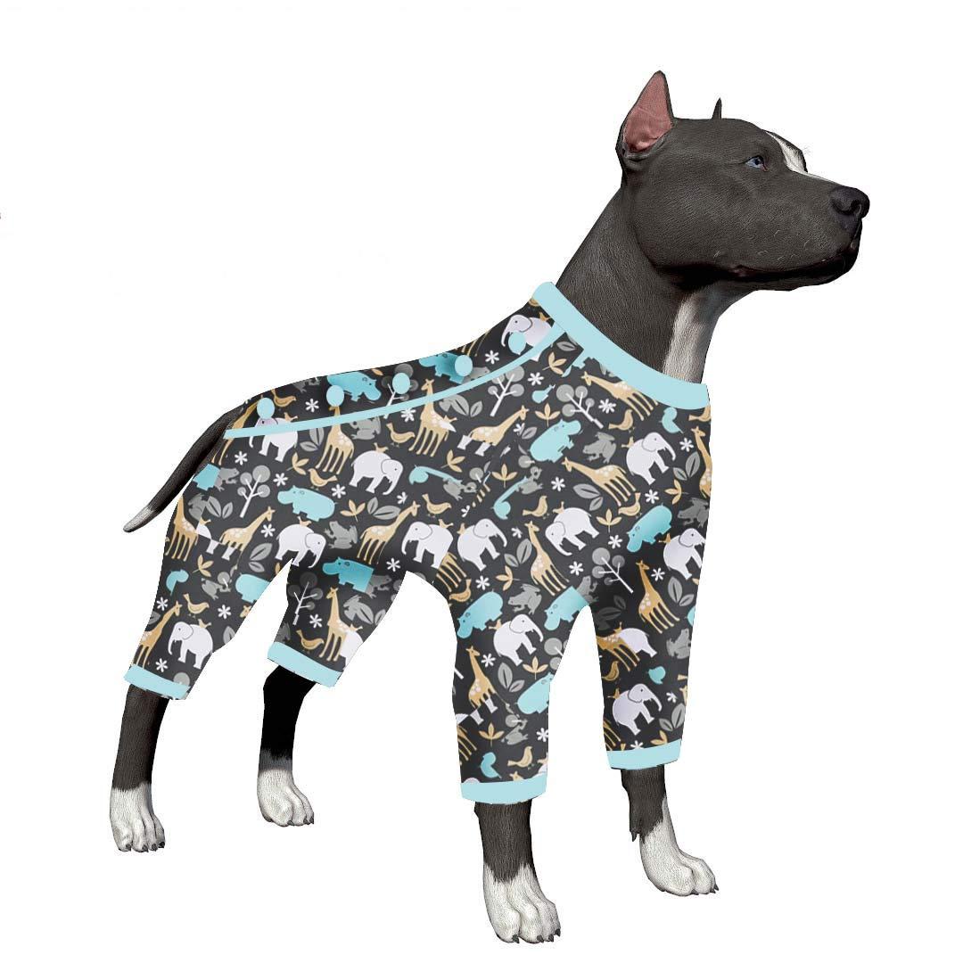 LovinPet Big Dog Pajamas, Zoo Animal Cozy Dog Pajamas, Slim fit, Lightweight Pullover Pajamas/Full Coverage Dog pjs/Please Reese Size Chart Before Ordering by LovinPet
