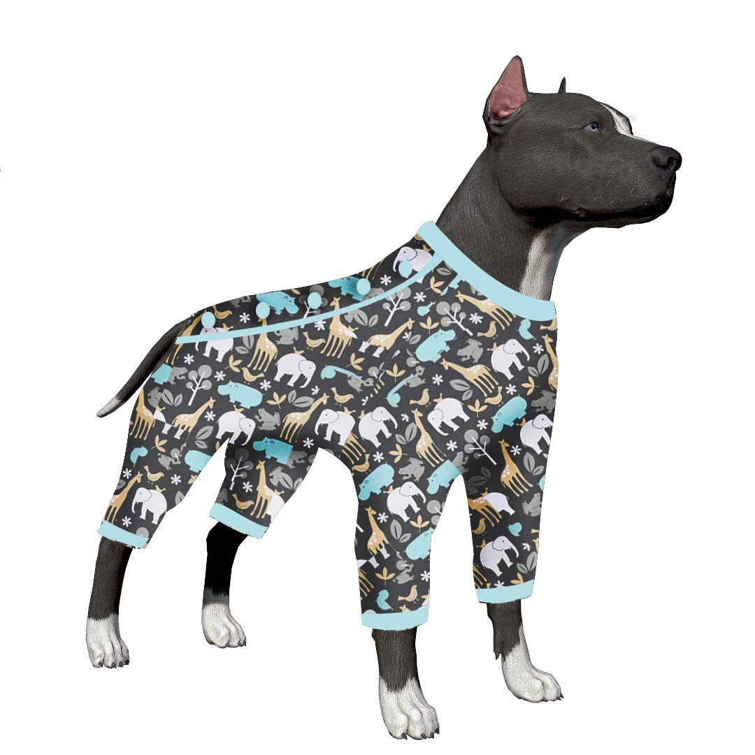 LovinPet Big Dog Pajamas, Zoo Animal Cozy Dog Pajamas, Slim fit, Lightweight Pullover Pajamas/Full Coverage Dog pjs/Please Reese Size Chart Before Ordering