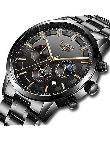 Relojes Hombre Acero Inoxidable Impermeable Deportes analógico de Cuarzo  Hombres Reloj LIGE Negocios de Lujo Cronógrafo 099cdaffaf5d