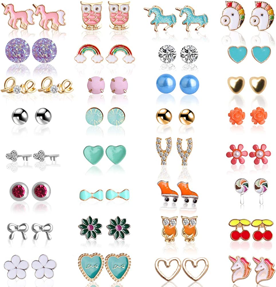 Hicdaw 32-62 Pairs Girls Earring Hypoallergenic Stud Earrings for Teen Girls Stud Earrings Set Gift for Girls