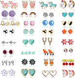 Hicdaw Stud Earrings for Girls Earring Hypoallergenic Cute Earrings Set Gift for Girls