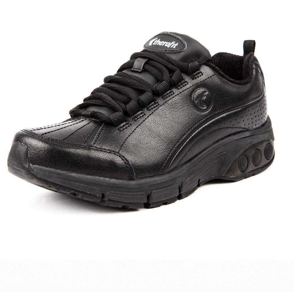 Therafit Shoe Women's Kathy Slip Resistant Leather Athletic Shoe B0187PRHFA 11 B(M) US|Black
