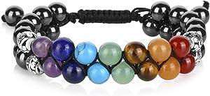Top Plaza Bead Chakra Bracelet 7 Chakras Healing Crystals Bracelet Yoga Stone Beads Bracelets Meditation Relax Anxiety Bangle for Womens Mens