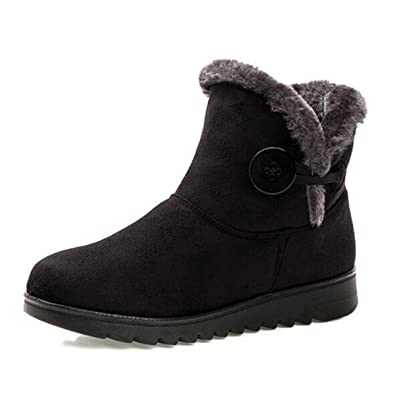 Slduv7 Fur Lined Womens Snow Boots Flock Winter Button Pull On Ankle Booties Shoes