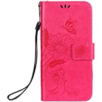 CUSKING iPhone 8/7 Case, PU Leather Wallet Case Premium Magnetic Stand Bumper Case with Card Holder and Hand Strap for Apple iPhone 8/7 - Hot Pink