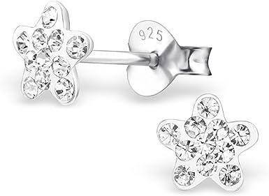 925 STERLING SILVER SMALL STAR FLOWER STUD EARRINGS