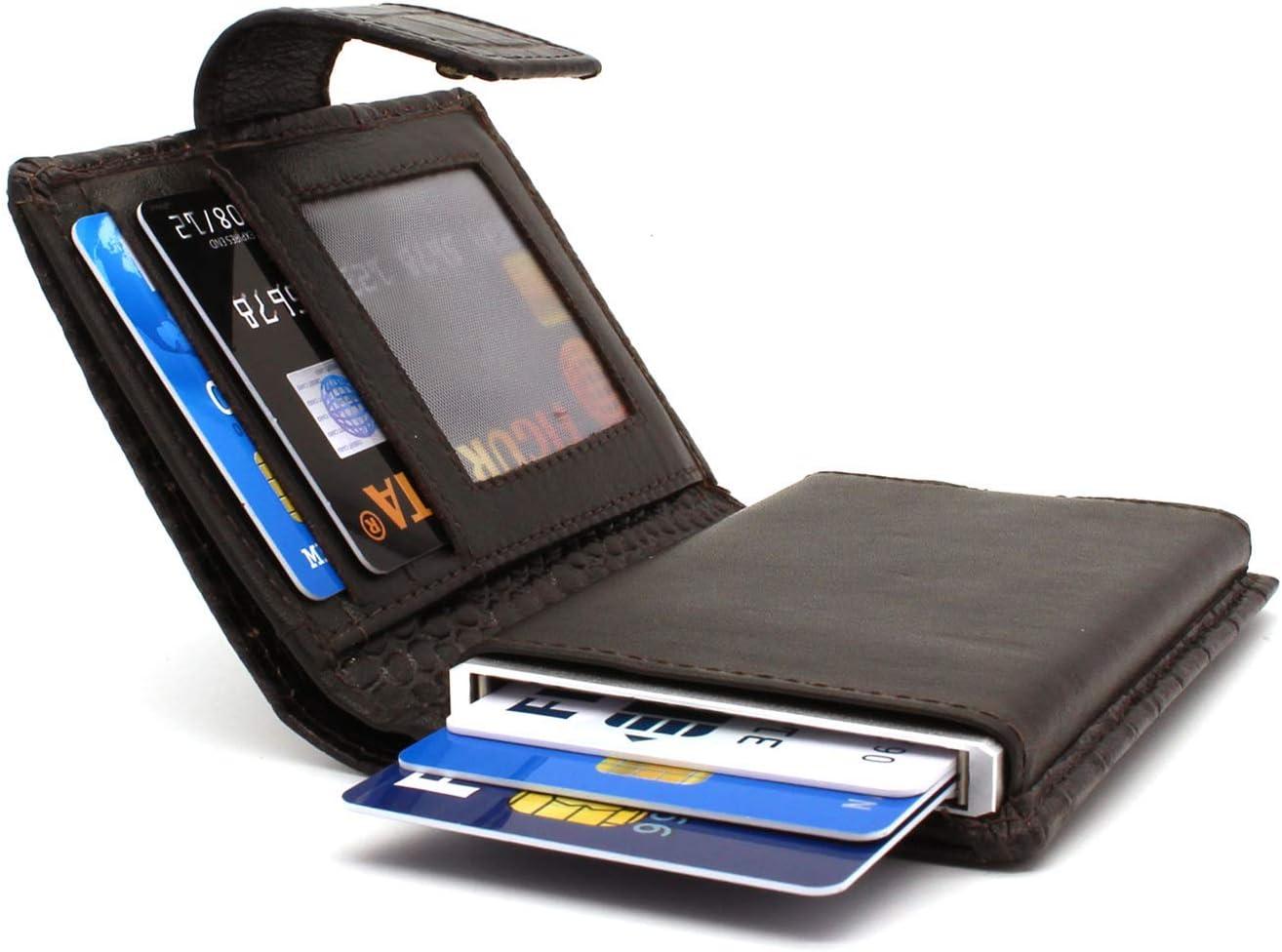 Portefeuille Mince Protection RFID Croco Brun Figuretta Porte-Cartes en Cuir avec Billets et pi/èces de Monnaie