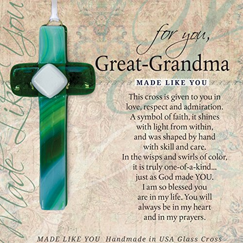 Made Like You Great-Grandma Handmade Glass Cross With Poetry (Gifts Great 25 Under)