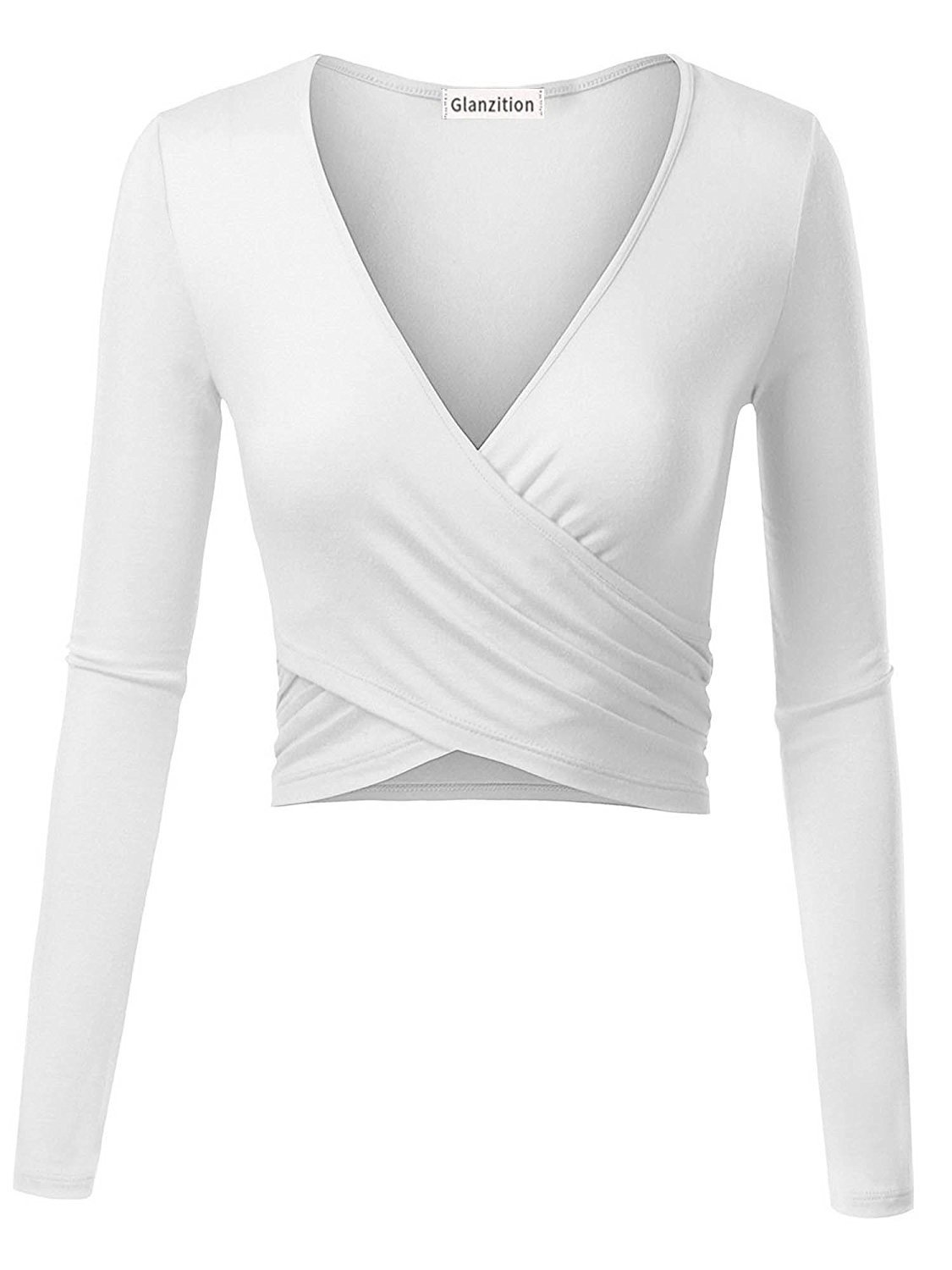 Glanzition Womens Basic Short Sleeve Deep V Neck Crop Tops Cute White M