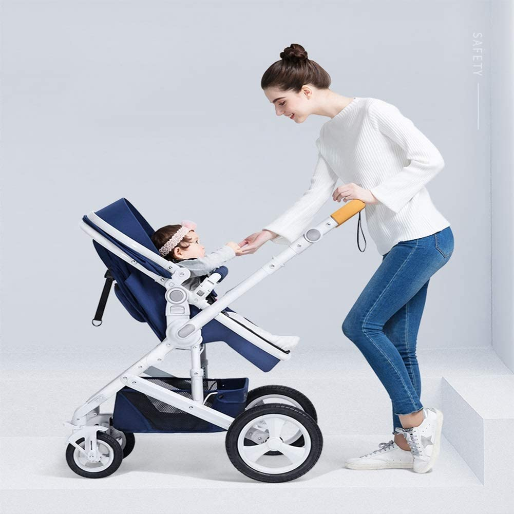 Color : Brown Baby Stroller Can Sit Reclining Folding Light Two-Way Four-Wheel Shock Absorber Baby Stroller