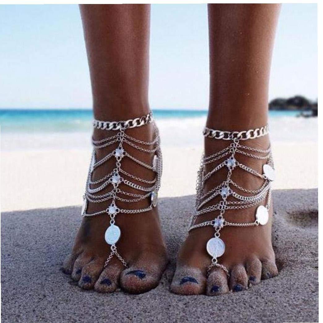 Conjunto De Cadena Multi Cadenas Beach Borlas Pulsera para El Tobillo del Pie Sandalias Descalzas Joyer/ía para Damas 2pc