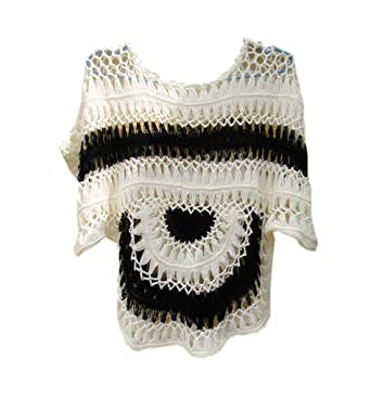 38d858fc88 Image Unavailable. Image not available for. Color  Black and white Handmade  Crochet Top Summer Beach Bikini Cover up