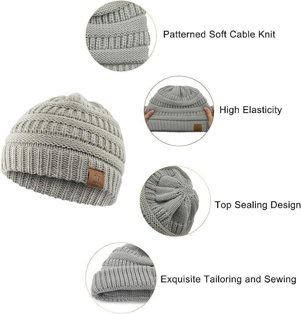 GEMVIE Newborn Babys Cotton Knitted Bonnet Hat Winter Warm Cute Square Shape Knit Beanie Caps Hats