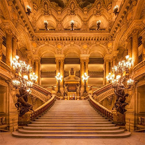 Leowefowa 10X10FT Luxurious Palace Backdrop Old Church European Golden Castle Backdrops for Photography Chandelier Staircase Interior Vinyl Photo Background Girls Lover Wedding Ceremony Studio -