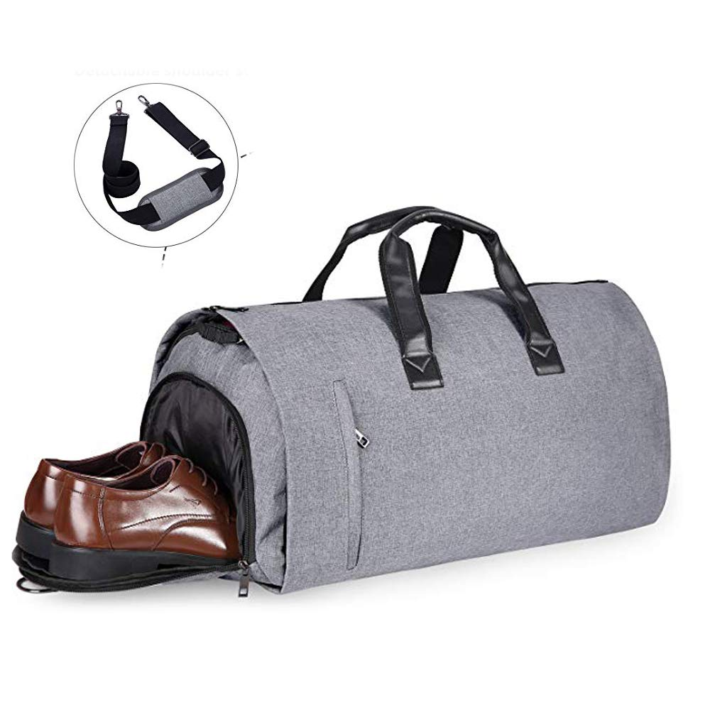 JoofEric Carry On Garment Bag for Travel & Business Trips with Shoulder Strap Duffel Bag with Shoe Pouch (Gray)
