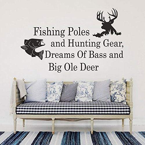 Wall Decal Decor Fishing Poles And Hunting Gear Dreams Of Bass And Big Ole Deer - Country Wall Decal Quote Wall Decals Nursery Bedroom Decor (White, 14