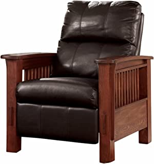 Ashley Furniture Signature Design - Santa Fe Recliner - Manual Reclining Chair - Chocolate Brown  sc 1 st  Amazon.com & Amazon.com: Coaster Mission Style Rocking Wood and Leather Chair ... islam-shia.org