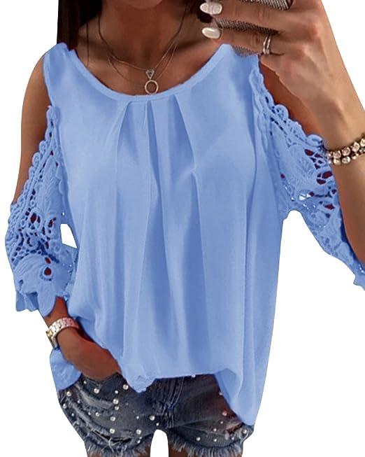 Kasen Mujer Camisetas Manga Larga Honda Hueco Moda Tops Blusa Sudaderas Camisas Azul S