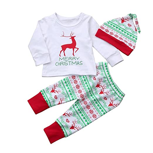 LNGRY Infant Baby Boy Girl Christmas Outfits Deer T shirt Tops+Pants+Hat Set - Amazon.com: LNGRY Infant Baby Boy Girl Christmas Outfits Deer T