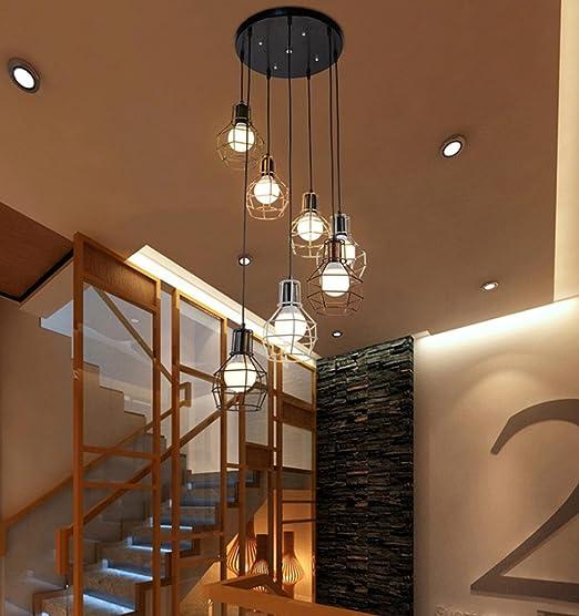 GFFORT los países de América del Retro Tiempo Escalera Doble para lámparas de Techo Restaurante Creativa combinación de Luces Oficina Personalidad altillo, 120 cm de Alto, E27,220v: Amazon.es: Hogar
