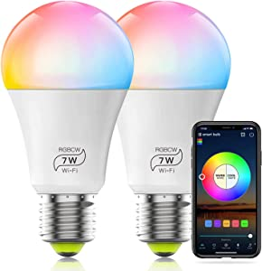 HaoDeng WiFi LED Smart Bulb - Dimmable, Multicolor, Tunable White (Color Changing Disco Ball Lamp) - 7W A19 E27(60W Equivalent), Compatible with Alexa, Google Home Assistant and IFTTT (2 Pack)