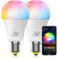 HaoDeng WiFi LED Light, 2Pack Smart Bulb -Timer& Sunrise& Sunset- Dimmable, Multicolor, Warm White (Color Changing Disco…