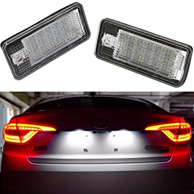 Car License Plate LED Lights 24-3528-SMD Lamp Assembly for Audi A3 A4 A6 A8 S6 Q7 RS4 RS6 Plus Error Free 3W 18 Led White License Plate 2-pack: Automotive
