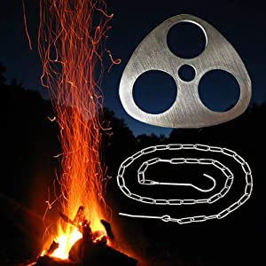 Portable Fire Fit Accessories - Camping Tripod grill board for Ourdoor Camfire Cooking-Cooker Stand and Hanger for Pots,Cauldron,Dutch Oven(Stainless Steel)