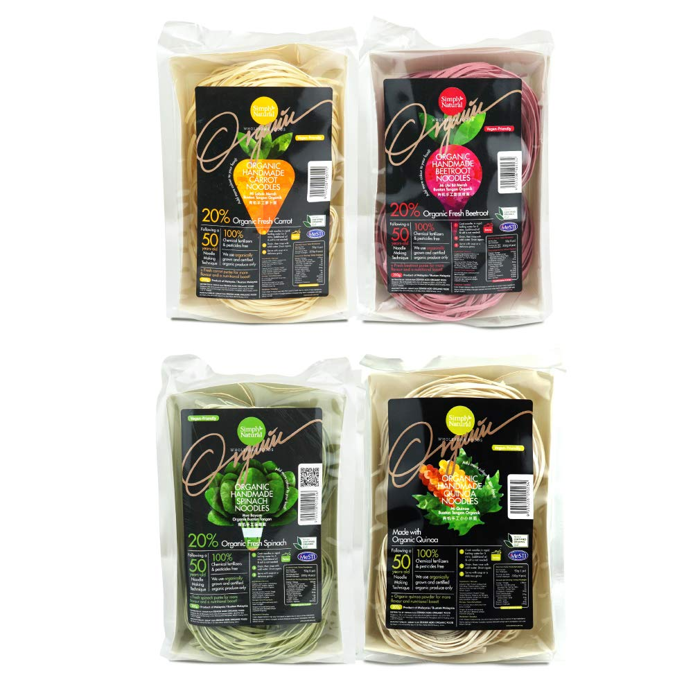 Fun pack of Zenxin Handmade Natural Noodles, Made from fresh Carrot, Beetroot, Spinach puree & Quinoa, With High Protein Flour - Egg free, Healthier noodles for kids and family,For 16 servings