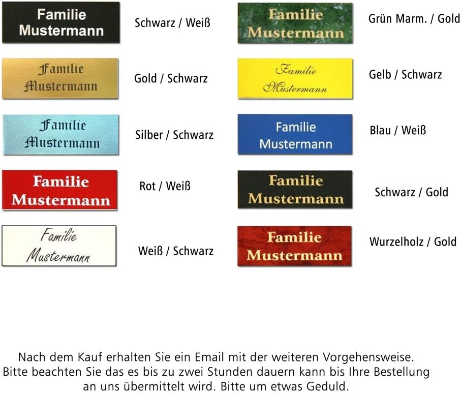 Farbkombination:Wei/ß//Schwarz;Gr/ö/ße:55 x 15 mm Gravurschild Briefkastenschild 10 Gr/ö/ßen Pokalschild T/ürschild Namensschild Klingelschild 41 Schriften