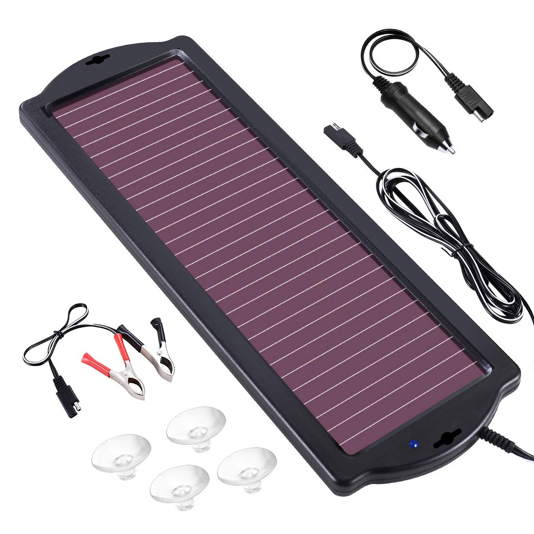 POWOXI 1.8W 12V Solar Trickle Charger for Car Battery, Portable and Waterproof, High Conversion Single Crystal Silicon Solar Panel car Battery Charger for Motorcycle Boat by POWOXI