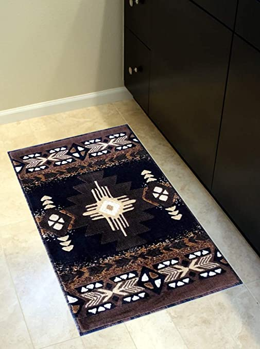 Superieur South West Native American Door Mat Area Rug Design C318 Black (24 Inch X 40