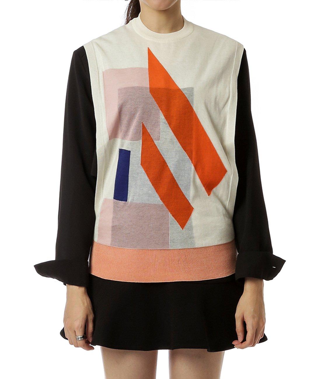 Wiberlux Acne Bena Trans Women's Geometric Pattern Open Side Vest M Ivory