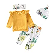 Newborn Baby Girl Outfits Ruffle Long Sleeve Tops +Pants Set 4PCS 6 Months Baby Girl Clothes Yellow