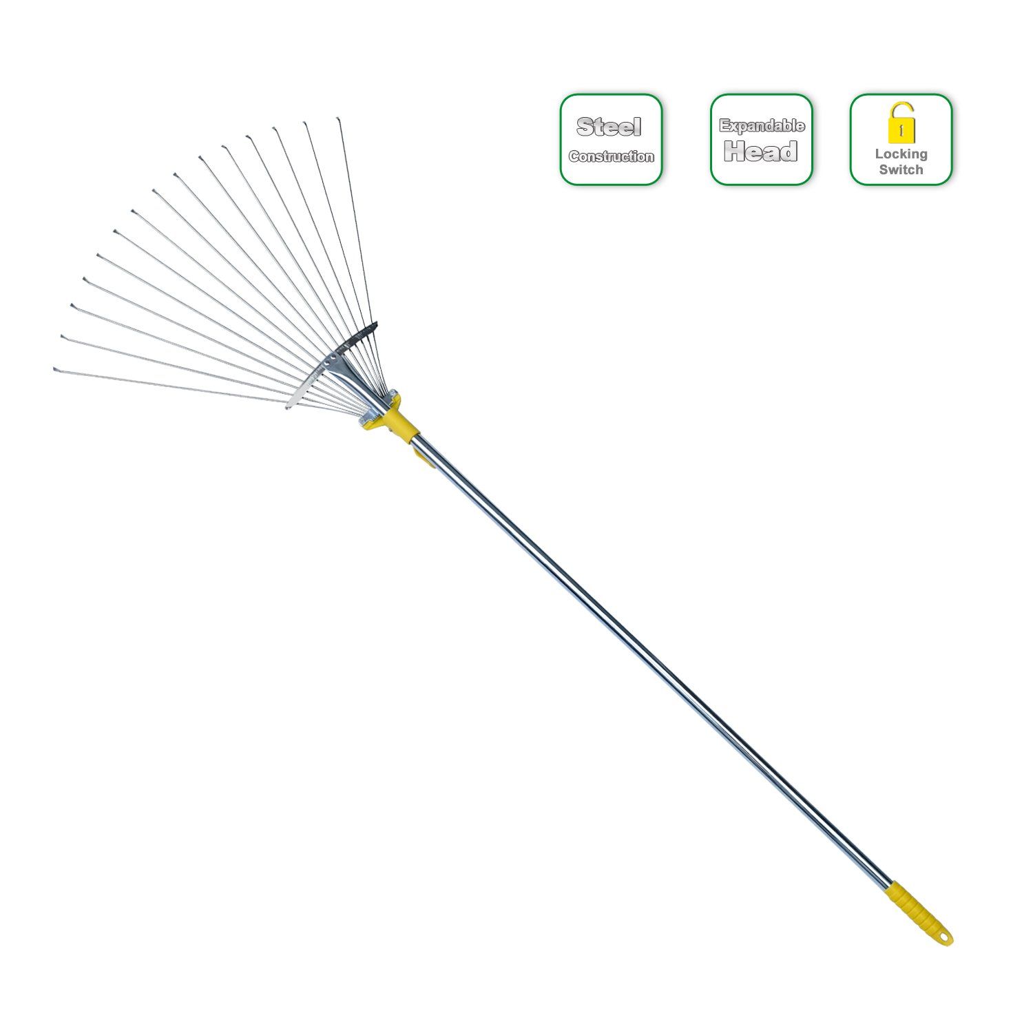 Jardineer 60 inches Adjustable Garden Leaf Rake, Expandable Rake for Lawn,Adjustable Head from 7-1/2 inches to 19 inches, Yard Rake for Leaves Leaf Collecting-Garden Gifts for Women & Men