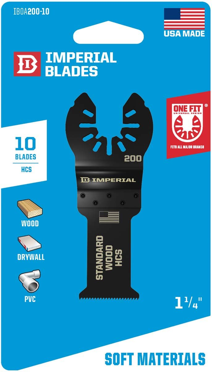 Imperial Blades IBOA200-10 One Fit Wood Oscillating Saw Blade Multi-Tool Accessory (Pack of 10), 1-/1-4''